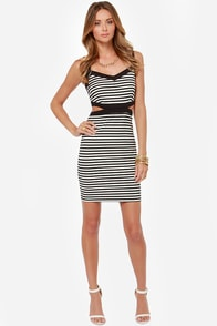Jack by BB Dakota Mac Black and White Striped Dress at Lulus.com!