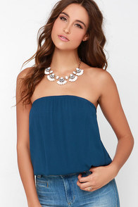 Just Flow With It Navy Blue Crop Top at Lulus.com!