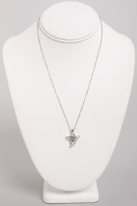 Culture Shark Silver Shark Tooth Necklace at Lulus.com!