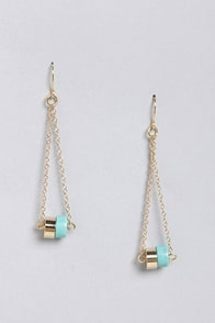 Swing of Things Gold and Turquoise Earrings at Lulus.com!