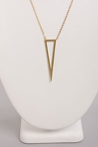 Acute Commuter Gold Triangle Necklace at Lulus.com!