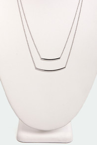 Bar-Fetched Silver Layered Necklace at Lulus.com!