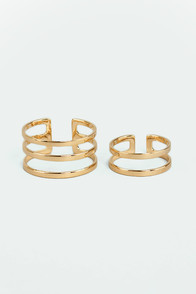 Set Apart Gold Ring Set at Lulus.com!