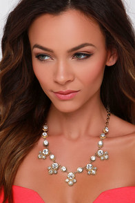 Dazzling Darling Gold Rhinestone Necklace at Lulus.com!