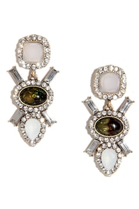 Wish I May, Wish I Might Green Rhinestone Earrings at Lulus.com!