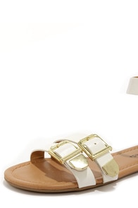 City Classified Saloma White and Gold Ankle Strap Sandals at Lulus.com!