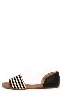 Atlantic Seaboard Striped Black Peep Toe Flats