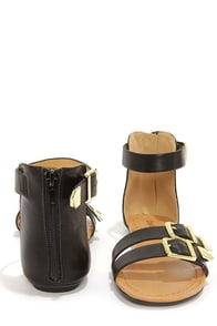 City Classified Saloma Black and Gold Ankle Strap Sandals at Lulus.com!