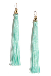 Sway Awhile Mint Tassel Earrings at Lulus.com!