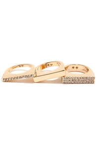 Solid Matter Gold Rhinestone Ring Set at Lulus.com!