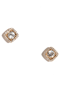 In Square Form Gold Rhinestone Earrings at Lulus.com!