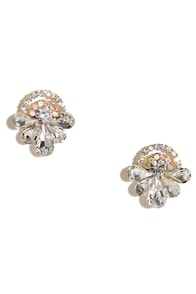 Drops of Rain Gold Rhinestone Earrings at Lulus.com!
