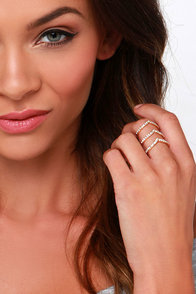 Three-Point Turn Gold Rhinestone Ring at Lulus.com!