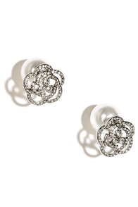 Rose Garden Regalia Silver and Pearl Peekaboo Earrings at Lulus.com!