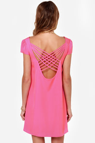 LULUS Exclusive Double Crosser Fuchsia Shift Dress at Lulus.com!