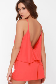 No Matter What Coral Red Romper at Lulus.com!