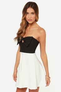 LULUS Exclusive Cupid's Bow Black and Ivory Dress at Lulus.com!