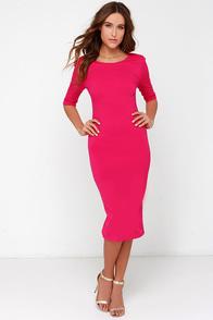 Cute Fuchsia Dress Midi Dress Bodycon Dress Cocktail