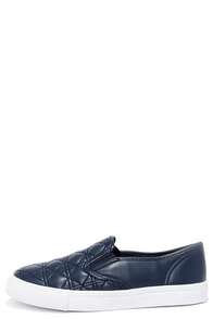 Sweet Kicks Navy Blue Quilted Slip-On Sneakers at Lulus.com!