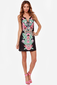 Gentle Fawn Paradise Black Tropical Print Dress at Lulus.com!