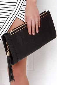 Slither Me Timbers Black Clutch at Lulus.com!