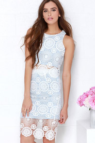 North Country Flair White and Blue Lace Two-Piece Dress at Lulus.com!