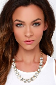 Beauty All Around Clear Rhinestone Statement Necklace at Lulus.com!