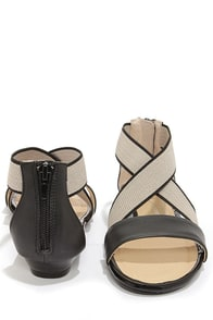 CL by Laundry Sweetest Black and Natural Crisscrossing Sandals at Lulus.com!