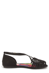 Madden Girl Smerk Black Strappy Flat Sandals at Lulus.com!