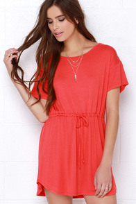 Tie As I May Coral Red Dress at Lulus.com!