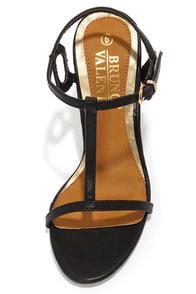 Bruno Valenti Brittney 1 Black Curlicue T-Strap Heels at Lulus.com!