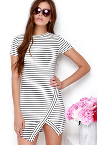 Yacht Club Ivory and Navy Blue Striped Dress at Lulus.com!