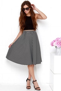 Line to Five Black Striped Midi Skirt at Lulus.com!