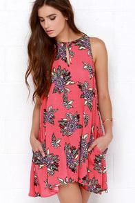 Mink Pink Cherry Pie Coral Pink Floral Print Dress at Lulus.com!