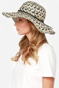 Roxy Summer Time Black and Ivory Straw Hat at Lulus.com!
