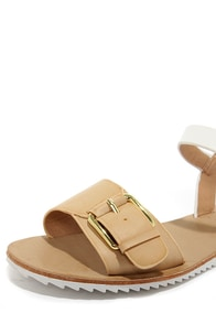Bamboo Hearten 01 Sand and White Flat Sandals at Lulus.com!