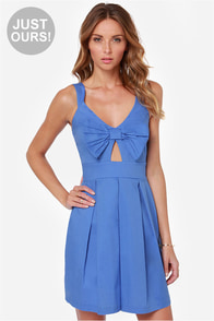 LULUS Exclusive Be So Bow-ld Cutout Blue Dress at Lulus.com!