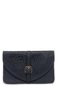 See Ya Laser Navy Blue Clutch at Lulus.com!