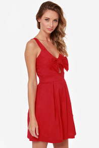 LULUS Exclusive Be So Bow-ld Cutout Red Dress at Lulus.com!