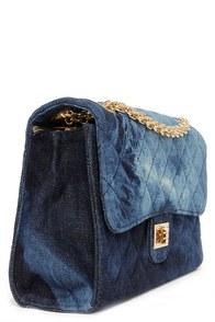 prada saffiano lux tote replica - Cute Denim Purse - Dark Blue Purse - Quilted Purse - $34.00