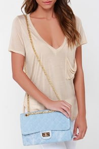 Magic Jeanie Light Blue Denim Purse at Lulus.com!