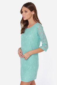 Bella Notte Mint Blue Lace Dress at Lulus.com!