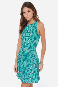Abstract Attraction Blue Print Dress at Lulus.com!