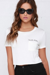 Detention Slip Ivory Tee at Lulus.com!