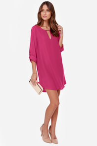 Beauty Abounds Magenta Shift Dress at Lulus.com!
