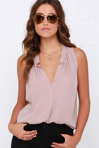 Ladies Who Brunch Mauve Sleeveless Top at Lulus.com!