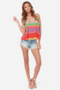 Lucy Love Solid Capri Multi Stripe Print Tank Top at Lulus.com!