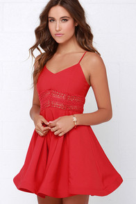 It's Electric Red Lace Dress at Lulus.com!