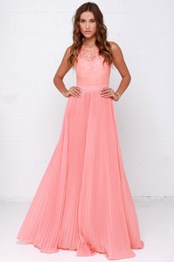 Say You Will Peach Lace Maxi Dress at Lulus.com!