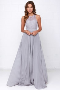 Say You Will Grey Lace Maxi Dress at Lulus.com!